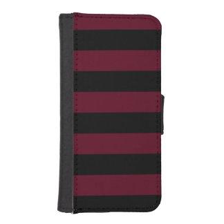 Stripes - Black and Dark Scarlet iPhone 5 Wallets