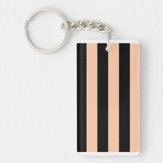 Stripes - Black and Deep Peach Acrylic Keychain