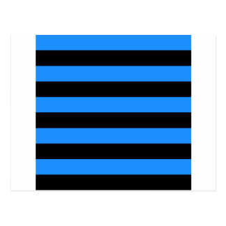 Stripes - Black and Dodger Blue Postcard