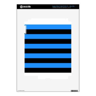 Stripes - Black and Dodger Blue Skin For iPad 3