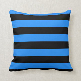 Stripes - Black and Dodger Blue Throw Pillow