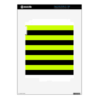 Stripes - Black and Fluorescent Yellow Decal For iPad 2