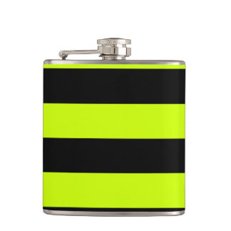 Stripes - Black and Fluorescent Yellow Hip Flask