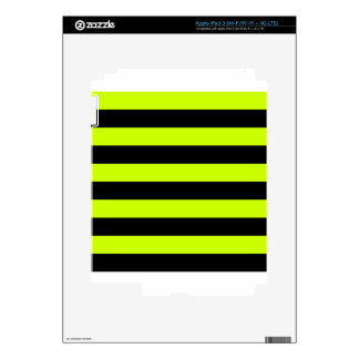 Stripes - Black and Fluorescent Yellow iPad 3 Skins