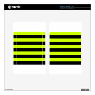 Stripes - Black and Fluorescent Yellow Kindle Fire Skin