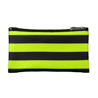 Stripes - Black and Fluorescent Yellow Makeup Bag