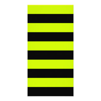 Stripes - Black and Fluorescent Yellow Photo Card