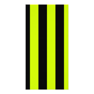 Stripes - Black and Fluorescent Yellow Photo Greeting Card