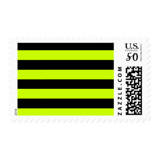 Stripes - Black and Fluorescent Yellow Postage