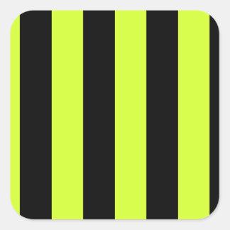 Stripes - Black and Fluorescent Yellow Square Sticker