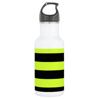 Stripes - Black and Fluorescent Yellow Stainless Steel Water Bottle