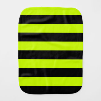 Stripes - Black and Fluorescent Yellow Burp Cloth
