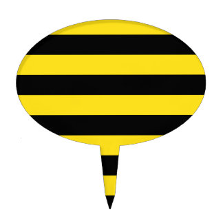 Stripes - Black and Golden Yellow Cake Topper