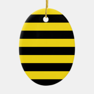 Stripes - Black and Golden Yellow Ceramic Ornament