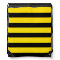 Stripes - Black and Golden Yellow Drawstring Backpack