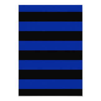 Stripes - Black and Imperial Blue 3.5x5 Paper Invitation Card