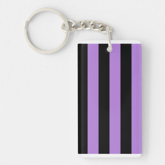 Stripes - Black and Lavender Rectangle Acrylic Keychain
