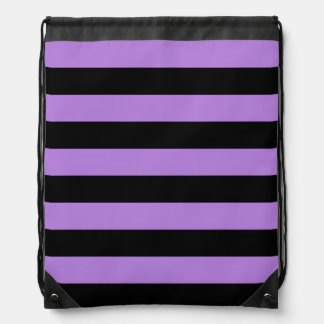 Stripes - Black and Lavender Cinch Bags