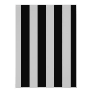 "Stripes - Black and Light Gray 5.5"" X 7.5"" Invitation Card"
