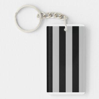 Stripes - Black and Light Gray Rectangle Acrylic Keychain