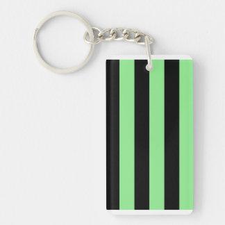 Stripes - Black and Light Green Rectangular Acrylic Key Chain
