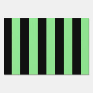 Stripes - Black and Light Green Yard Signs