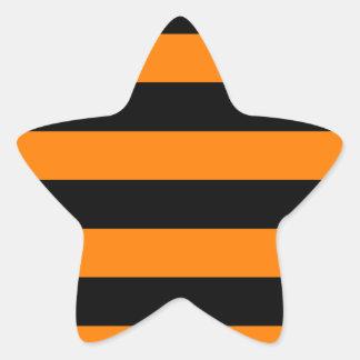 Stripes - Black and Orange Star Sticker