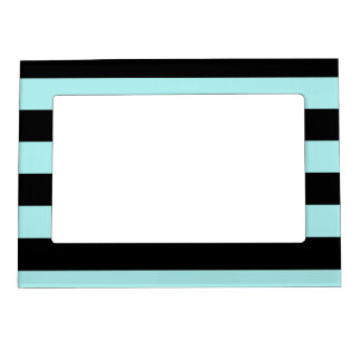 Stripes - Black and Pale Blue Magnetic Picture Frame