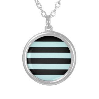 Stripes - Black and Pale Blue Round Pendant Necklace