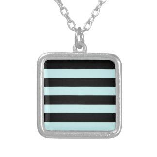 Stripes - Black and Pale Blue Square Pendant Necklace