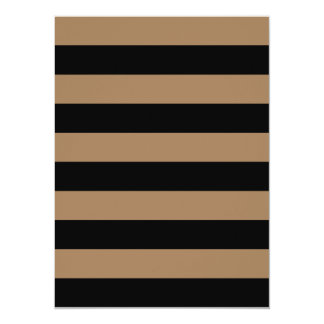 "Stripes - Black and Pale Brown 5.5"" X 7.5"" Invitation Card"