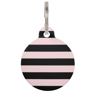 Stripes - Black and Pale Pink Pet Name Tag