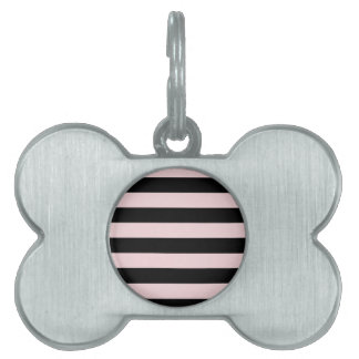 Stripes - Black and Pale Pink Pet ID Tag