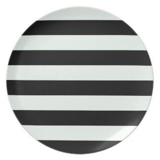 Stripes - Black and Pastel Green Dinner Plate