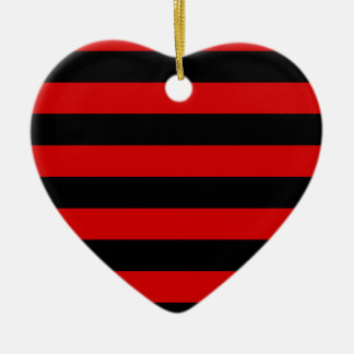 Stripes - Black and Rosso Corsa Ceramic Ornament