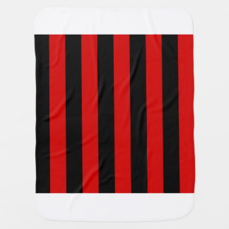Stripes - Black and Rosso Corsa Stroller Blankets