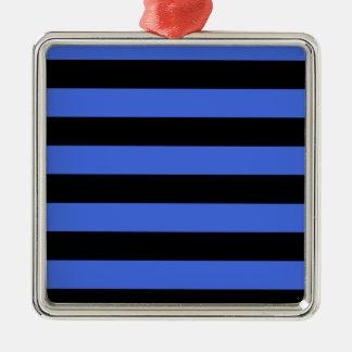 Stripes - Black and Royal Blue Metal Ornament