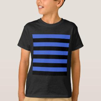 Stripes - Black and Royal Blue T-Shirt