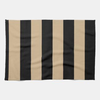 Stripes - Black and Tan Kitchen Towel