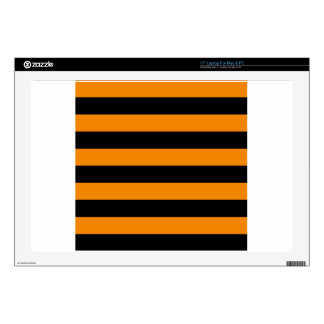 Stripes - Black and Tangerine Laptop Skins