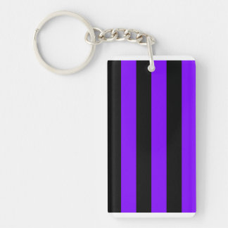 Stripes - Black and Violet Rectangular Acrylic Key Chain