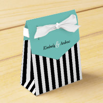 Stripes Black And White Ribbon Blue Wedding Gift Favor Box