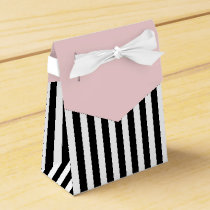 Stripes Black And White Ribbon Pink Wedding Gift Favor Box