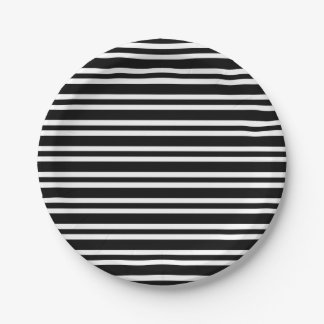 Stripes Black and White Thick and Thin Paper Plate