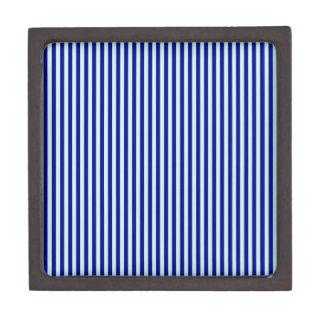 Stripes - Blue 2 - Pale Blue and Navy Blue Premium Trinket Boxes