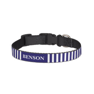 Stripes blue & white custom name dog's collar