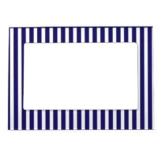 Stripes blue & white cute pattern design magnetic frame