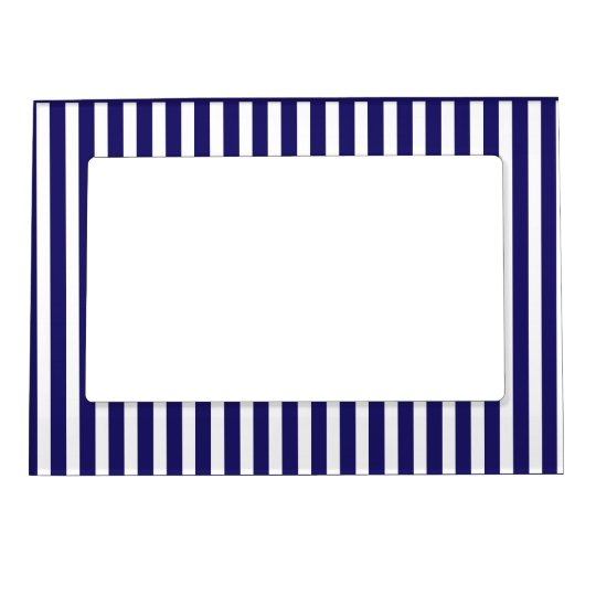 Stripes blue & white cute pattern design magnetic picture frame