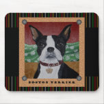 Stripes Boston Terrier Mouse Pads