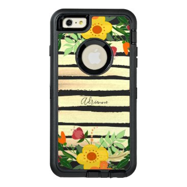 Stripes Brushstrokes With Floral Edge Script Name OtterBox Defender iPhone Case